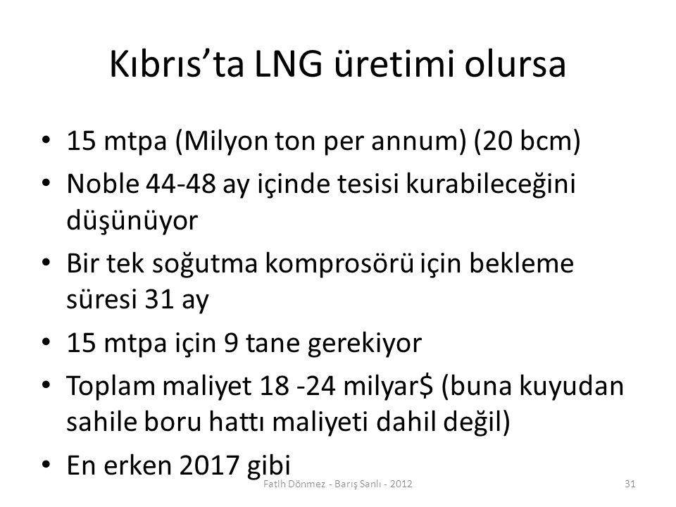 Kıbrıs'ta LNG üretimi olursa 15 mtpa (Milyon ton per annum) (20 bcm) Noble 44-48 ay içinde tesisi kurabileceğini düşünüyor Bir tek soğutma komprosörü için bekleme süresi 31 ay 15 mtpa için 9 tane gerekiyor Toplam maliyet 18 -24 milyar$ (buna kuyudan sahile boru hattı maliyeti dahil değil) En erken 2017 gibi 31Fatih Dönmez - Barış Sanlı - 2012