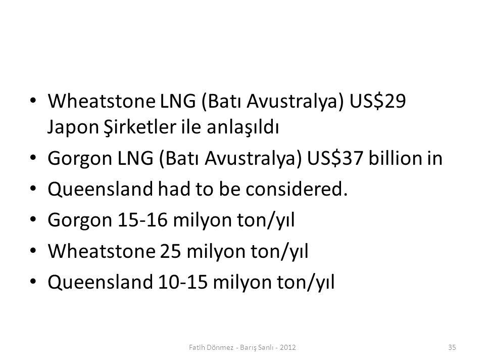Wheatstone LNG (Batı Avustralya) US$29 Japon Şirketler ile anlaşıldı Gorgon LNG (Batı Avustralya) US$37 billion in Queensland had to be considered.