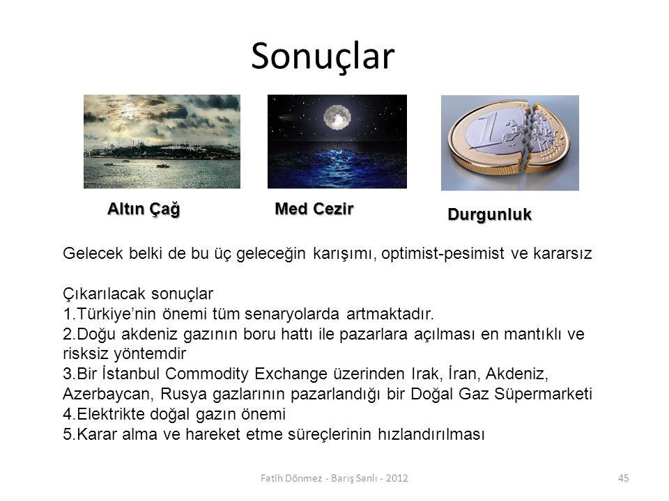 Sonuçlar Altın Çağ Med Cezir Durgunluk Gelecek belki de bu üç geleceğin karışımı, optimist-pesimist ve kararsız Çıkarılacak sonuçlar 1.Türkiye'nin önemi tüm senaryolarda artmaktadır.