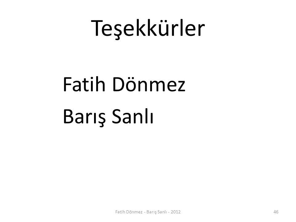 Teşekkürler Fatih Dönmez Barış Sanlı 46Fatih Dönmez - Barış Sanlı - 2012