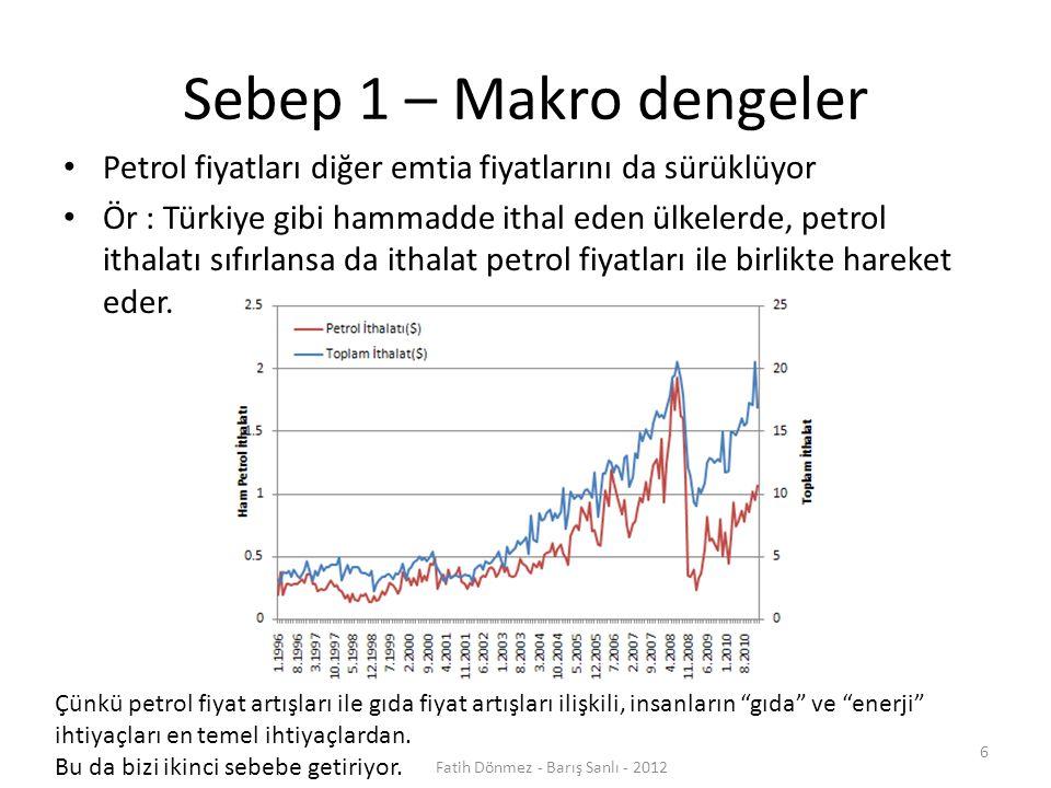 Sebep 1 – Makro dengeler Petrol fiyatları diğer emtia fiyatlarını da sürüklüyor Ör : Türkiye gibi hammadde ithal eden ülkelerde, petrol ithalatı sıfırlansa da ithalat petrol fiyatları ile birlikte hareket eder.