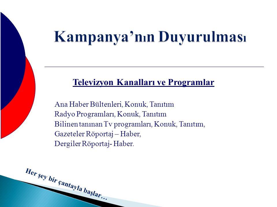 Kampanya'n ı n Duyurulmas ı Televizyon Kanalları ve Programlar Ana Haber Bültenleri, Konuk, Tanıtım Radyo Programları, Konuk, Tanıtım Bilinen tanınan