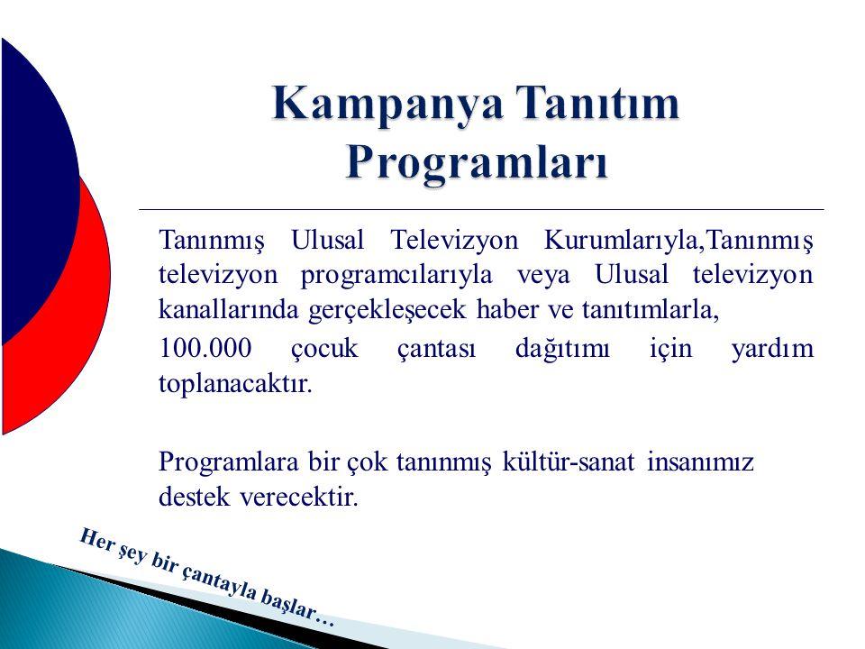 Kampanya Tanıtım Programları Tanınmış Ulusal Televizyon Kurumlarıyla,Tanınmış televizyon programcılarıyla veya Ulusal televizyon kanallarında gerçekle
