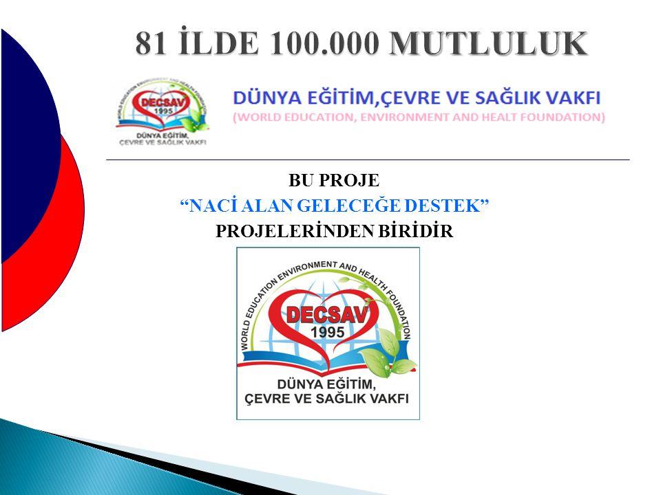 """BU PROJE """"NACİ ALAN GELECEĞE DESTEK"""" PROJELERİNDEN BİRİDİR"""