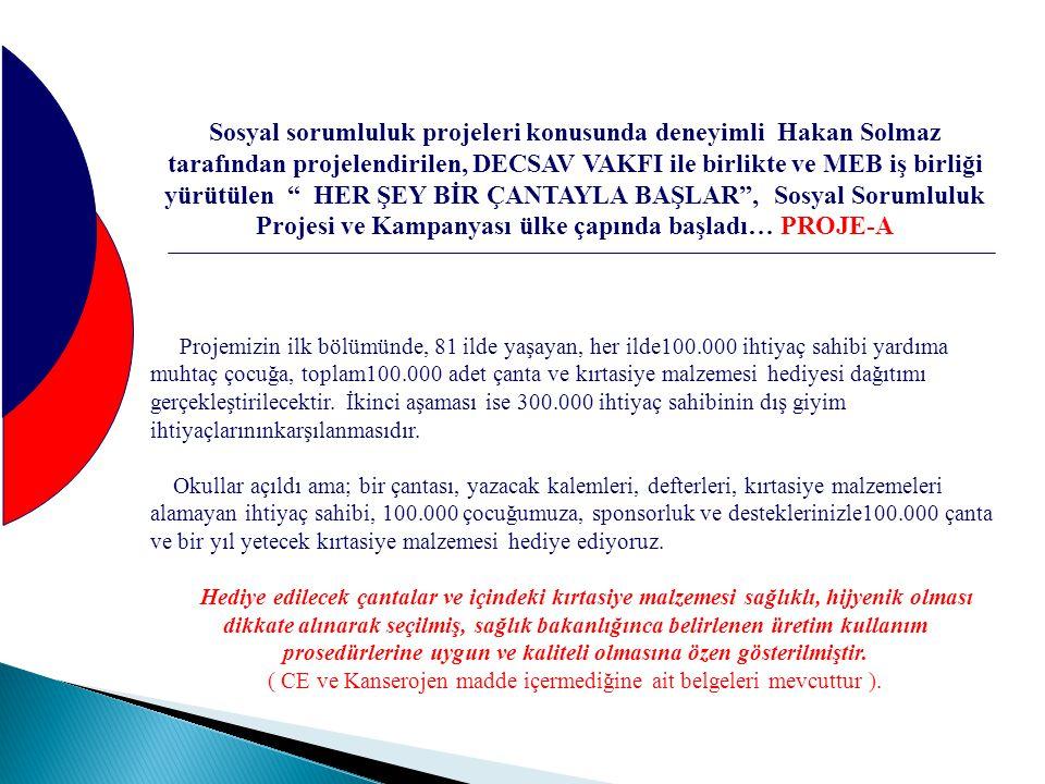 """Sosyal sorumluluk projeleri konusunda deneyimli Hakan Solmaz tarafından projelendirilen, DECSAV VAKFI ile birlikte ve MEB iş birliği yürütülen """" HER Ş"""