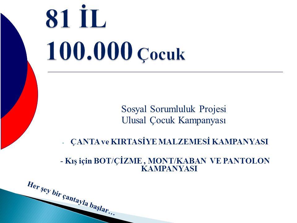 81 İL 100.000 Çocuk Sosyal Sorumluluk Projesi Ulusal Çocuk Kampanyası - ÇANTA ve KIRTASİYE MALZEMESİ KAMPANYASI - Kış için BOT/ÇİZME, MONT/KABAN VE PA
