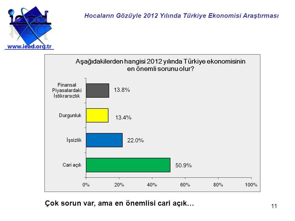 11 Çok sorun var, ama en önemlisi cari açık… Hocaların Gözüyle 2012 Yılında Türkiye Ekonomisi Araştırması