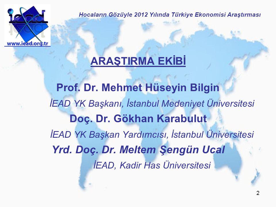 2 ARAŞTIRMA EKİBİ Prof. Dr. Mehmet Hüseyin Bilgin İEAD YK Başkanı, İstanbul Medeniyet Üniversitesi Doç. Dr. Gökhan Karabulut İEAD YK Başkan Yardımcısı