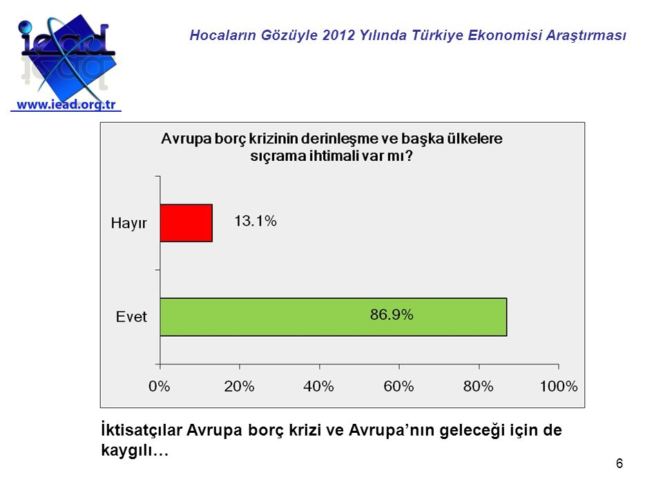 6 İktisatçılar Avrupa borç krizi ve Avrupa'nın geleceği için de kaygılı… Hocaların Gözüyle 2012 Yılında Türkiye Ekonomisi Araştırması