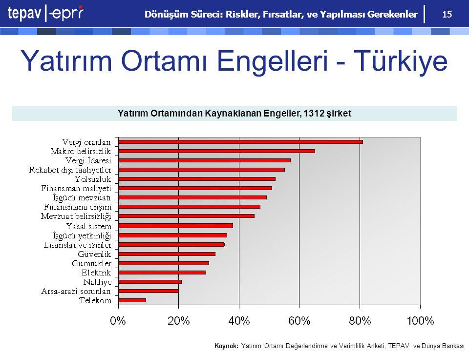 Dönüşüm Süreci: Riskler, Fırsatlar, ve Yapılması Gerekenler 15 Yatırım Ortamı Engelleri - Türkiye Yatırım Ortamından Kaynaklanan Engeller, 1312 şirket
