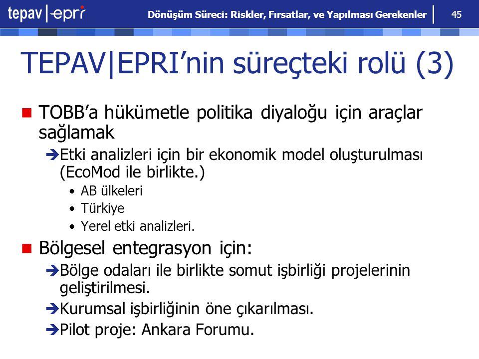 Dönüşüm Süreci: Riskler, Fırsatlar, ve Yapılması Gerekenler 45 TEPAV|EPRI'nin süreçteki rolü (3) TOBB'a hükümetle politika diyaloğu için araçlar sağla