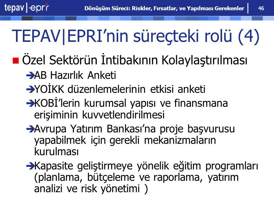Dönüşüm Süreci: Riskler, Fırsatlar, ve Yapılması Gerekenler 46 TEPAV|EPRI'nin süreçteki rolü (4) Özel Sektörün İntibakının Kolaylaştırılması  AB Hazı