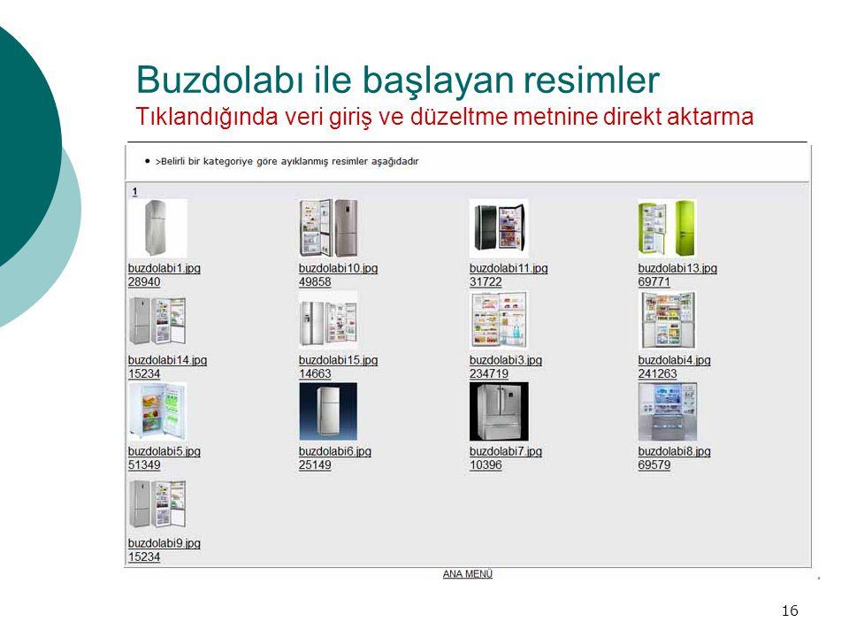 Buzdolabı ile başlayan resimler Tıklandığında veri giriş ve düzeltme metnine direkt aktarma 16