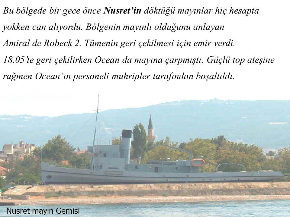 Mayına Çarpan Irrisistible Anadolu Hamidiye tabyası hasar görmemişti ve İrrisistible'a ateş ediyordu.