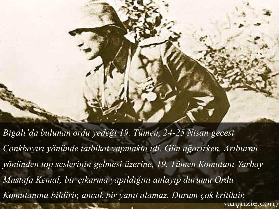 25 Nisan sabahı savaş gemilerinin, Türk mevzilerini sürekli vuran koruyucu ateş altında, Anzak Kolordusu'nun 1.