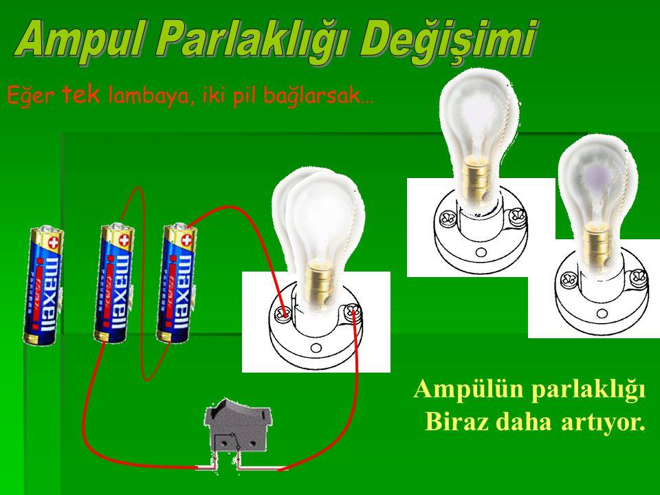 Eğer tek lambaya, iki pil bağlarsak… Ampülün parlaklığı Biraz daha artıyor.