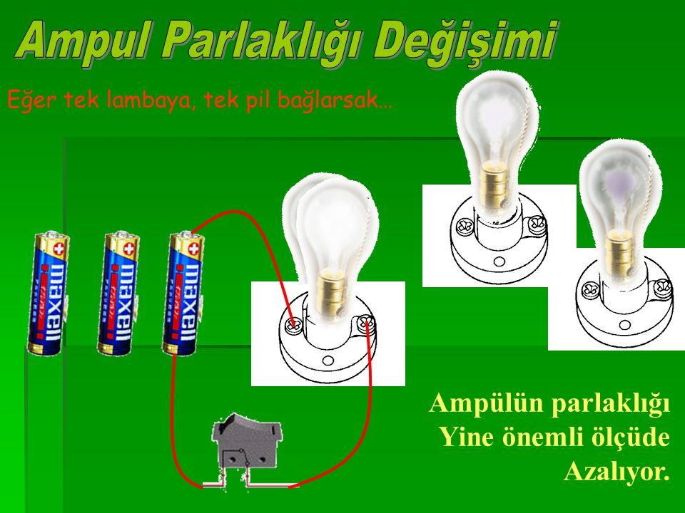 Eğer tek lambaya, tek pil bağlarsak… Ampülün parlaklığı Yine önemli ölçüde Azalıyor.