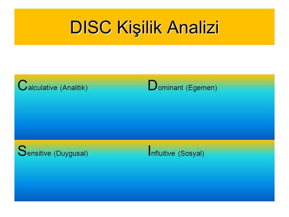 DISC Kişilik Analizi C alculative (Analitik) D ominant (Egemen) S ensitive (Duygusal) I nfluitive (Sosyal)