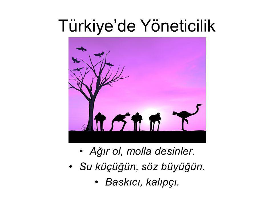 Türkiye'de Yöneticilik Ağır ol, molla desinler. Su küçüğün, söz büyüğün. Baskıcı, kalıpçı.