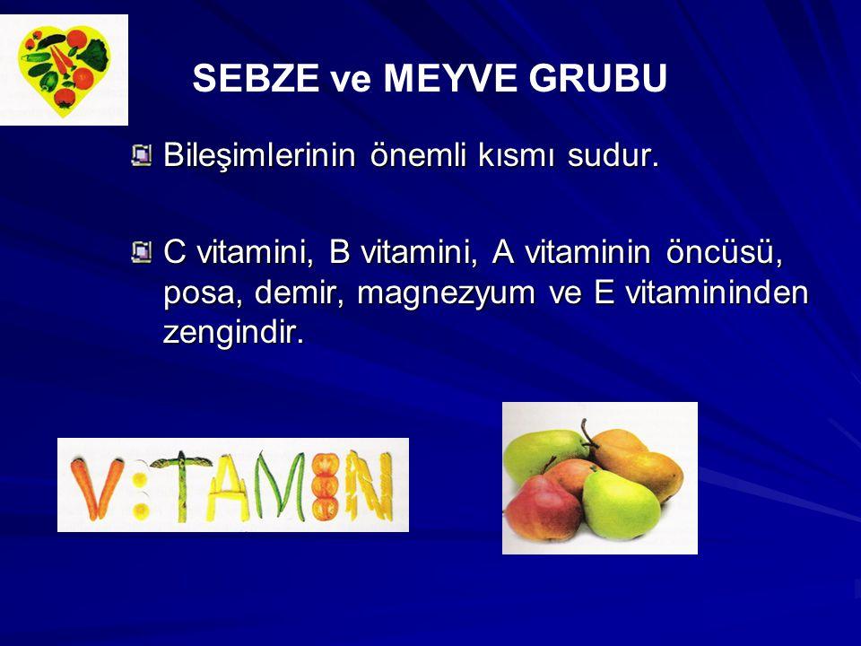 Bileşimlerinin önemli kısmı sudur. C vitamini, B vitamini, A vitaminin öncüsü, posa, demir, magnezyum ve E vitamininden zengindir. SEBZE ve MEYVE GRUB