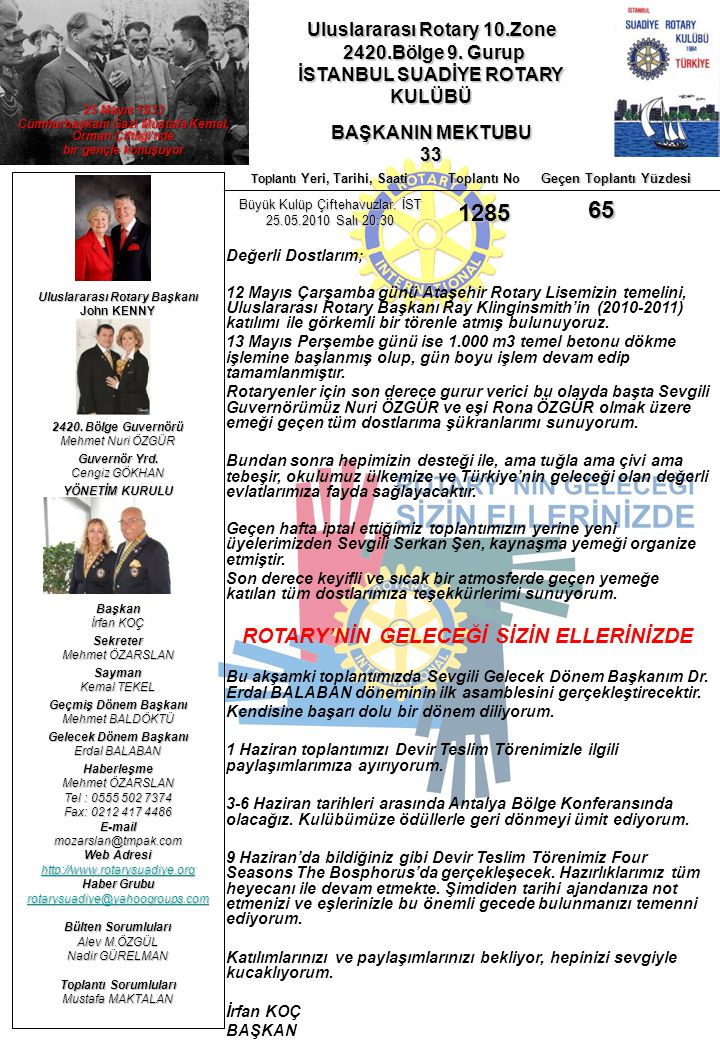 Uluslararası Rotary 10.Zone 2420.Bölge 9. Gurup 2420.Bölge 9. Gurup İSTANBUL SUADİYE ROTARY KULÜBÜ BAŞKANIN MEKTUBU 33 Uluslararası Rotary Başkanı Joh