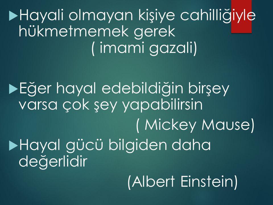  Hayali olmayan kişiye cahilliğiyle hükmetmemek gerek ( imami gazali)  Eğer hayal edebildiğin birşey varsa çok şey yapabilirsin ( Mickey Mause)  Hayal gücü bilgiden daha değerlidir (Albert Einstein)