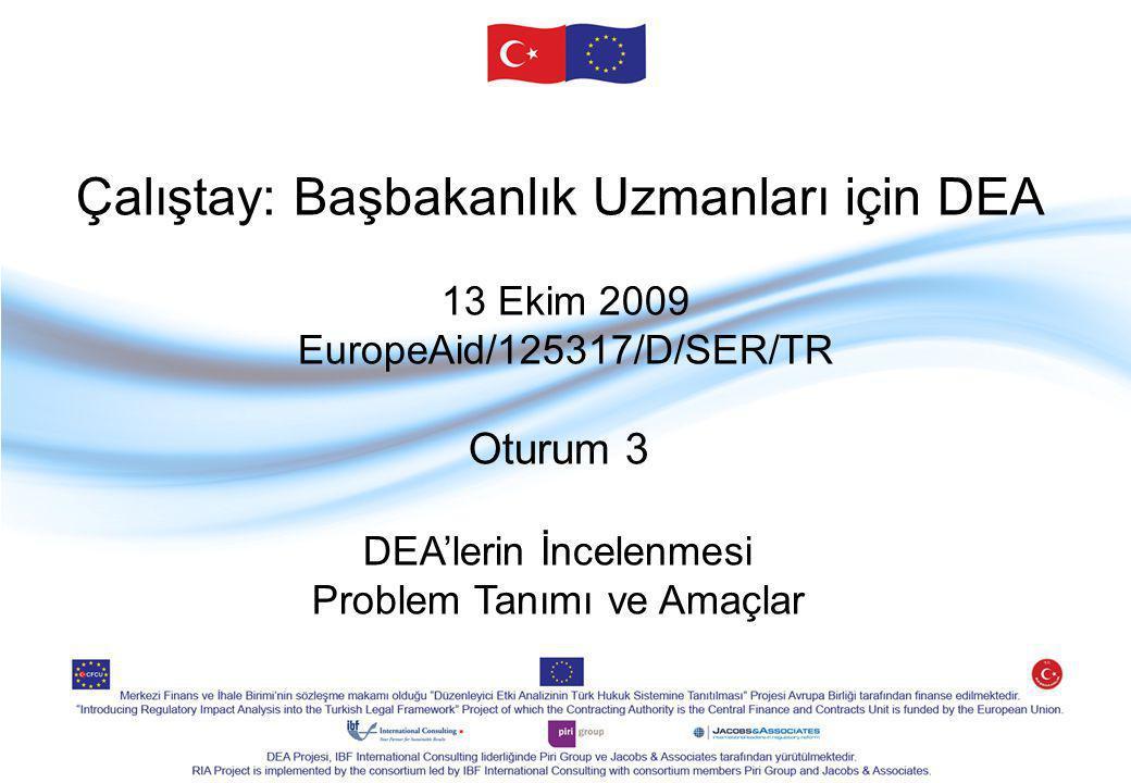 Çalıştay: Başbakanlık Uzmanları için DEA 13 Ekim 2009 EuropeAid/125317/D/SER/TR Oturum 3 DEA'lerin İncelenmesi Problem Tanımı ve Amaçlar