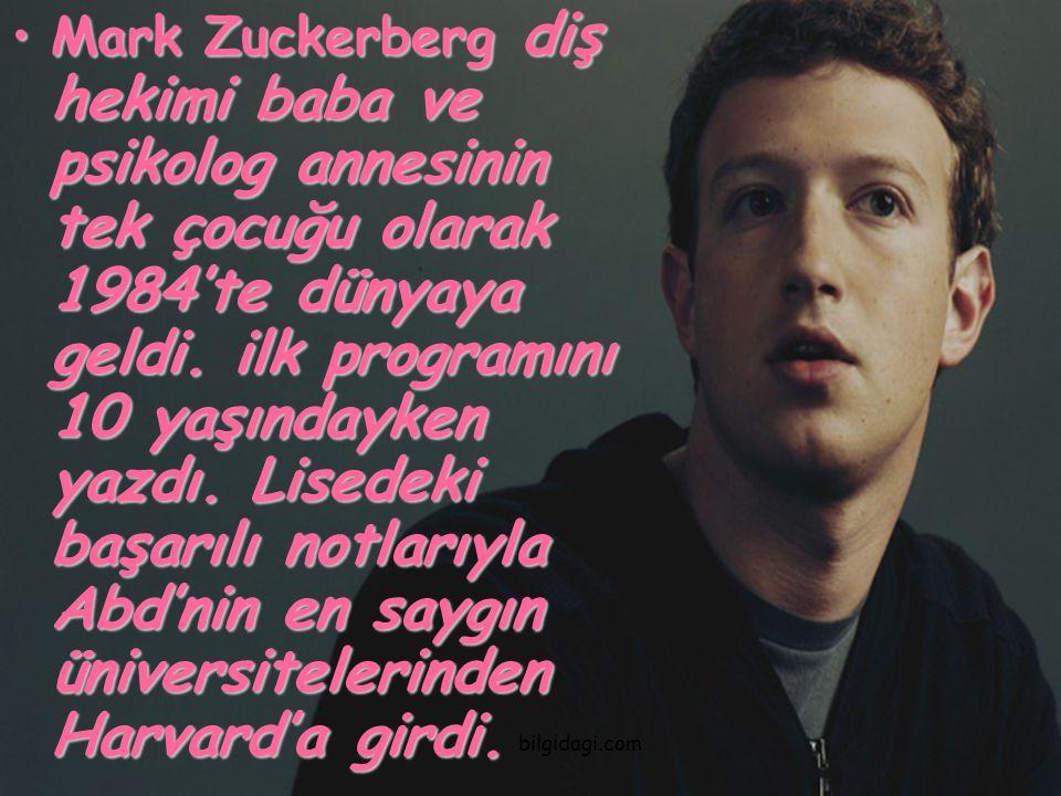 Mark Zuckerberg diş hekimi baba ve psikolog annesinin tek çocuğu olarak 1984'te dünyaya geldi. ilk programını 10 yaşındayken yazdı. Lisedeki başarılı