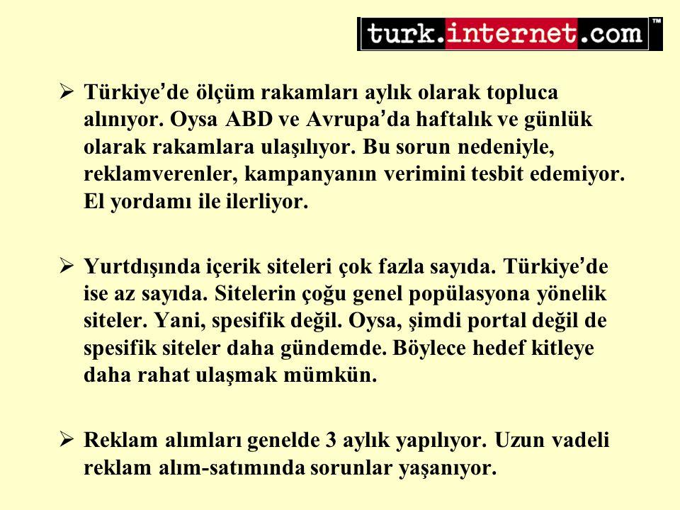  Türkiye ' de ölçüm rakamları aylık olarak topluca alınıyor.