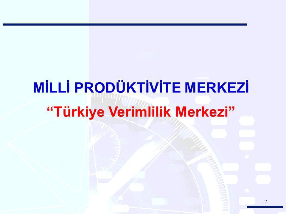 3 Tarihi : 17 Nisan 1965 Yasası : 580 Sayılı Yasa Niteliği : Kamu Kurumu KURULUŞU: MİLLİ PRODÜKTİVİTE MERKEZİ Türkiye'nin Verimlilik Merkezi