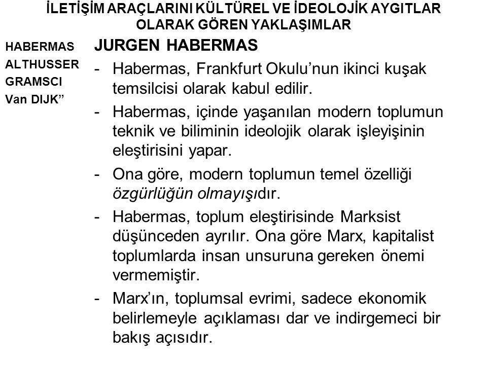 """İLETİŞİM ARAÇLARINI KÜLTÜREL VE İDEOLOJİK AYGITLAR OLARAK GÖREN YAKLAŞIMLAR HABERMAS ALTHUSSER GRAMSCI Van DIJK"""" JURGEN HABERMAS -Habermas, Frankfurt"""