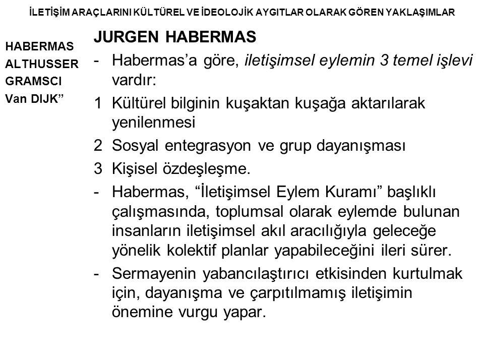 """İLETİŞİM ARAÇLARINI KÜLTÜREL VE İDEOLOJİK AYGITLAR OLARAK GÖREN YAKLAŞIMLAR HABERMAS ALTHUSSER GRAMSCI Van DIJK"""" JURGEN HABERMAS -Habermas'a göre, ile"""