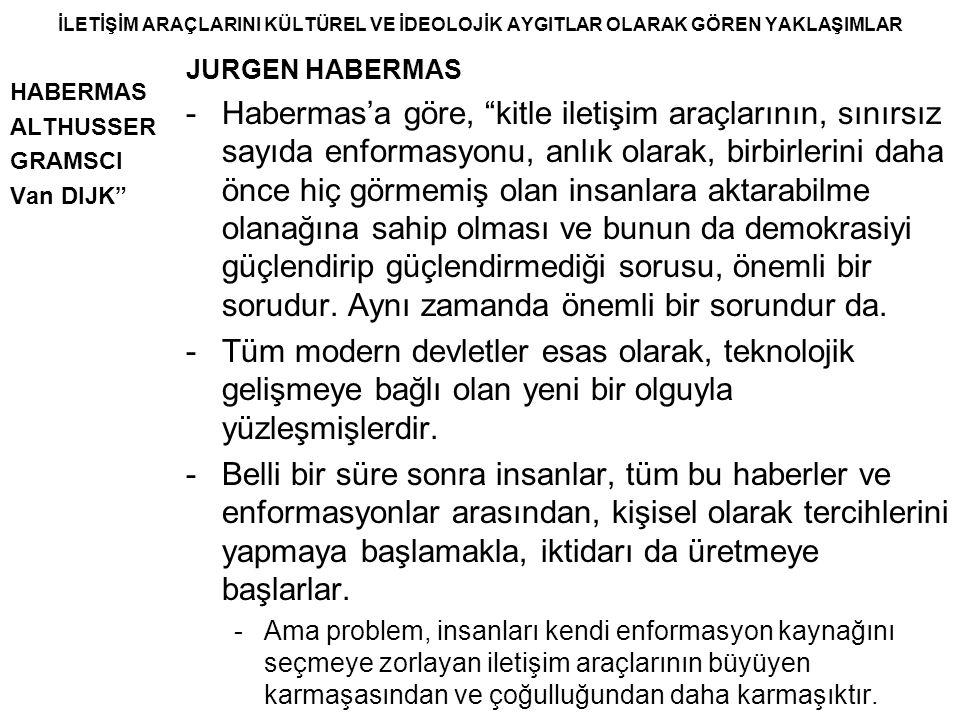 """İLETİŞİM ARAÇLARINI KÜLTÜREL VE İDEOLOJİK AYGITLAR OLARAK GÖREN YAKLAŞIMLAR HABERMAS ALTHUSSER GRAMSCI Van DIJK"""" JURGEN HABERMAS -Habermas'a göre, """"ki"""