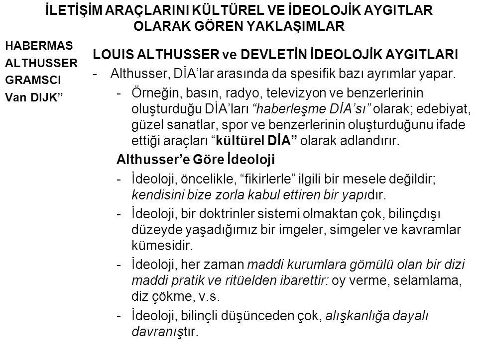 """İLETİŞİM ARAÇLARINI KÜLTÜREL VE İDEOLOJİK AYGITLAR OLARAK GÖREN YAKLAŞIMLAR HABERMAS ALTHUSSER GRAMSCI Van DIJK"""" LOUIS ALTHUSSER ve DEVLETİN İDEOLOJİK"""
