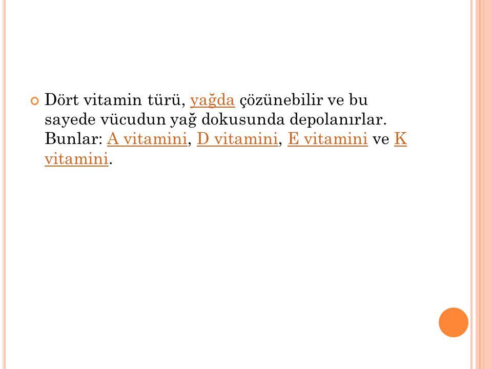 Vitamin türleri Herkes tarafından bilinen 13 vitamin vardır. Bunlar temelde, yağda çözünenler ve suda çözünenler olarak iki gruba ayrılır:ama gerçekte