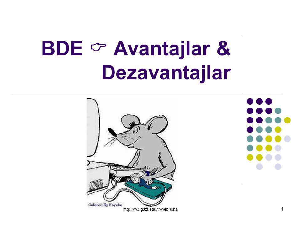 http://w3.gazi.edu.tr/web/usta1 BDE  Avantajlar & Dezavantajlar