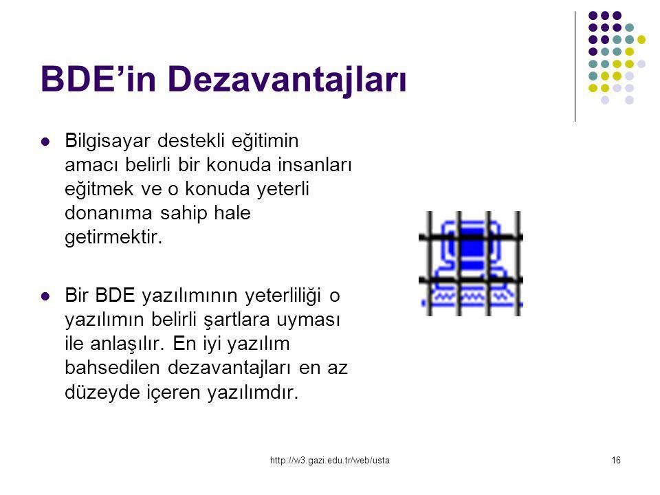 http://w3.gazi.edu.tr/web/usta16 BDE'in Dezavantajları Bilgisayar destekli eğitimin amacı belirli bir konuda insanları eğitmek ve o konuda yeterli don