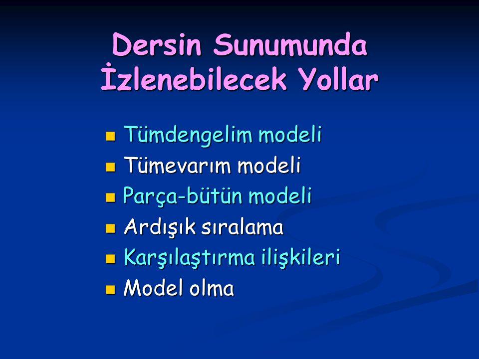 Dersin Sunumunda İzlenebilecek Yollar Tümdengelim modeli Tümdengelim modeli Tümevarım modeli Tümevarım modeli Parça-bütün modeli Parça-bütün modeli Ar