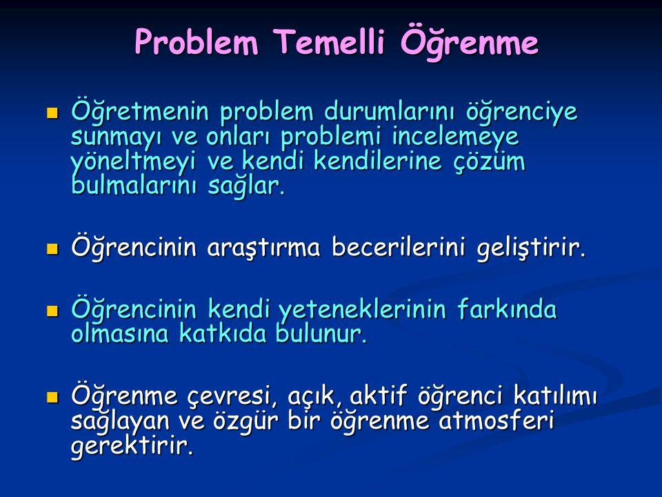 Problem Temelli Öğrenme Öğretmenin problem durumlarını öğrenciye sunmayı ve onları problemi incelemeye yöneltmeyi ve kendi kendilerine çözüm bulmaları