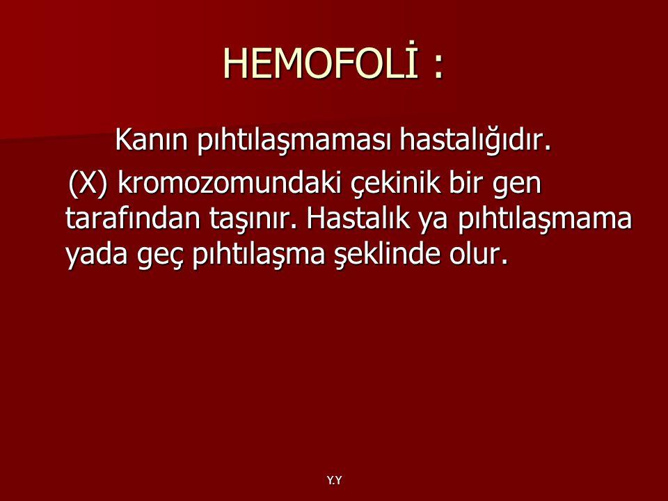 Y.Y HEMOFOLİ : Kanın pıhtılaşmaması hastalığıdır. Kanın pıhtılaşmaması hastalığıdır. (X) kromozomundaki çekinik bir gen tarafından taşınır. Hastalık y