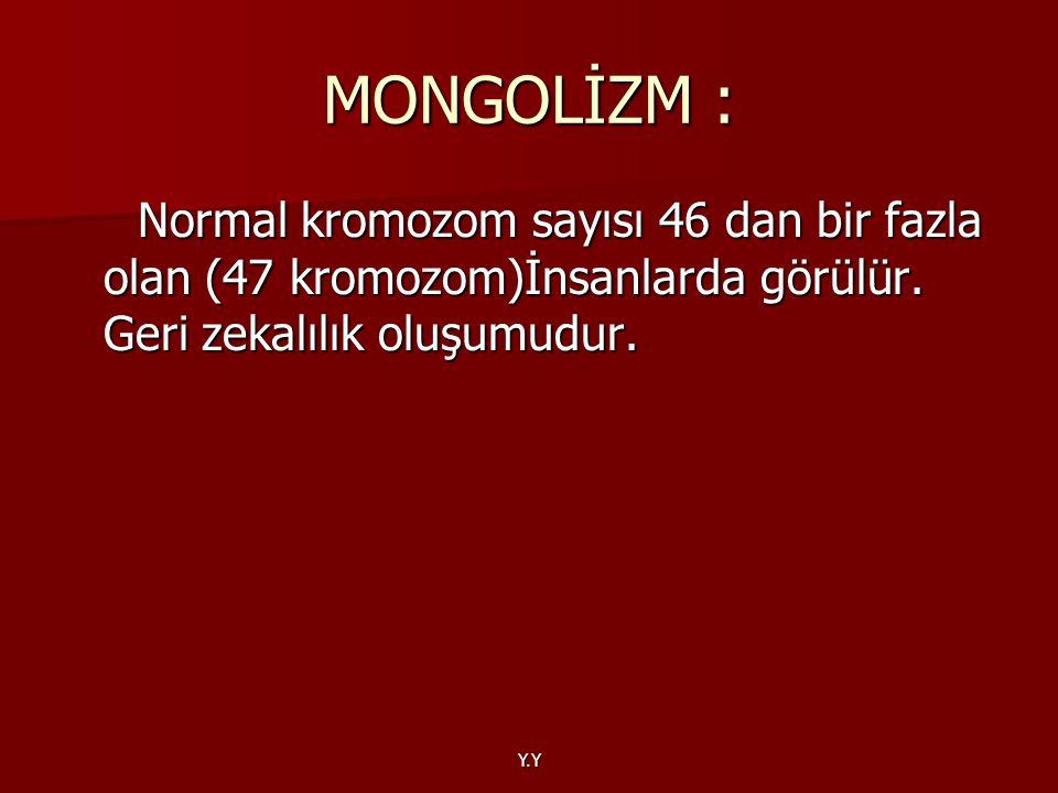 Y.Y MONGOLİZM : Normal kromozom sayısı 46 dan bir fazla olan (47 kromozom)İnsanlarda görülür. Geri zekalılık oluşumudur. Normal kromozom sayısı 46 dan