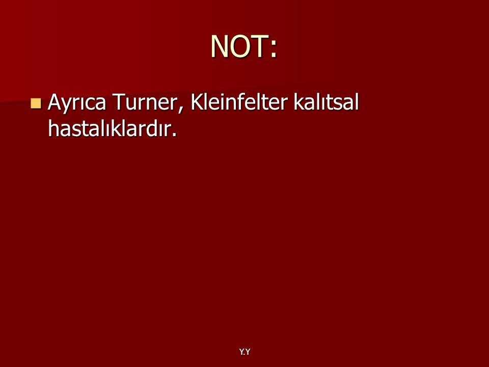 Y.Y NOT: Ayrıca Turner, Kleinfelter kalıtsal hastalıklardır. Ayrıca Turner, Kleinfelter kalıtsal hastalıklardır.