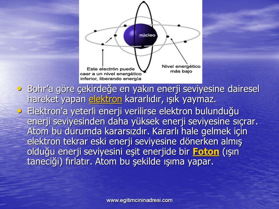 Bohr'a göre çekirdeğe en yakın enerji seviyesine dairesel hareket yapan e e e e e llll eeee kkkk tttt rrrr oooo nnnn kararlıdır, ışık yaymaz. Elektron