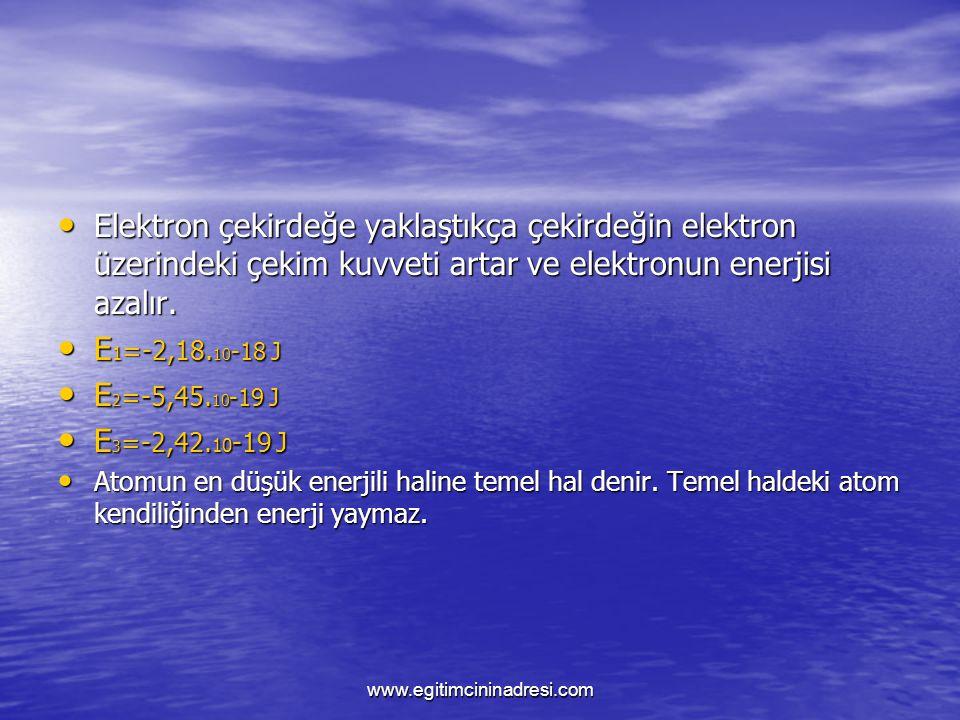 Elektron çekirdeğe yaklaştıkça çekirdeğin elektron üzerindeki çekim kuvveti artar ve elektronun enerjisi azalır. E1=-2,18.10-18 J E2=-5,45.10-19 J E3=