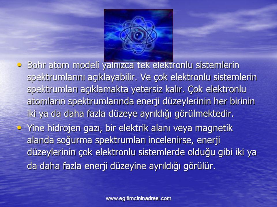 Bohr atom modeli yalnızca tek elektronlu sistemlerin spektrumlarını açıklayabilir. Ve çok elektronlu sistemlerin spektrumları açıklamakta yetersiz kal