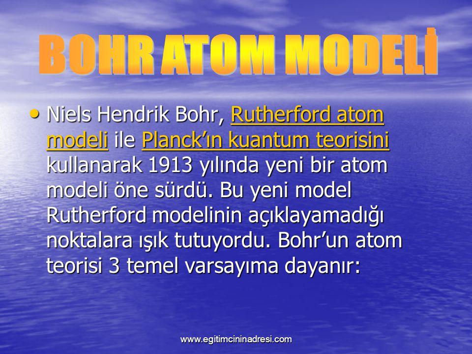Niels Hendrik Bohr, Rutherford atom modeli ile Planck'ın kuantum teorisini kullanarak 1913 yılında yeni bir atom modeli öne sürdü. Bu yeni model Ruthe