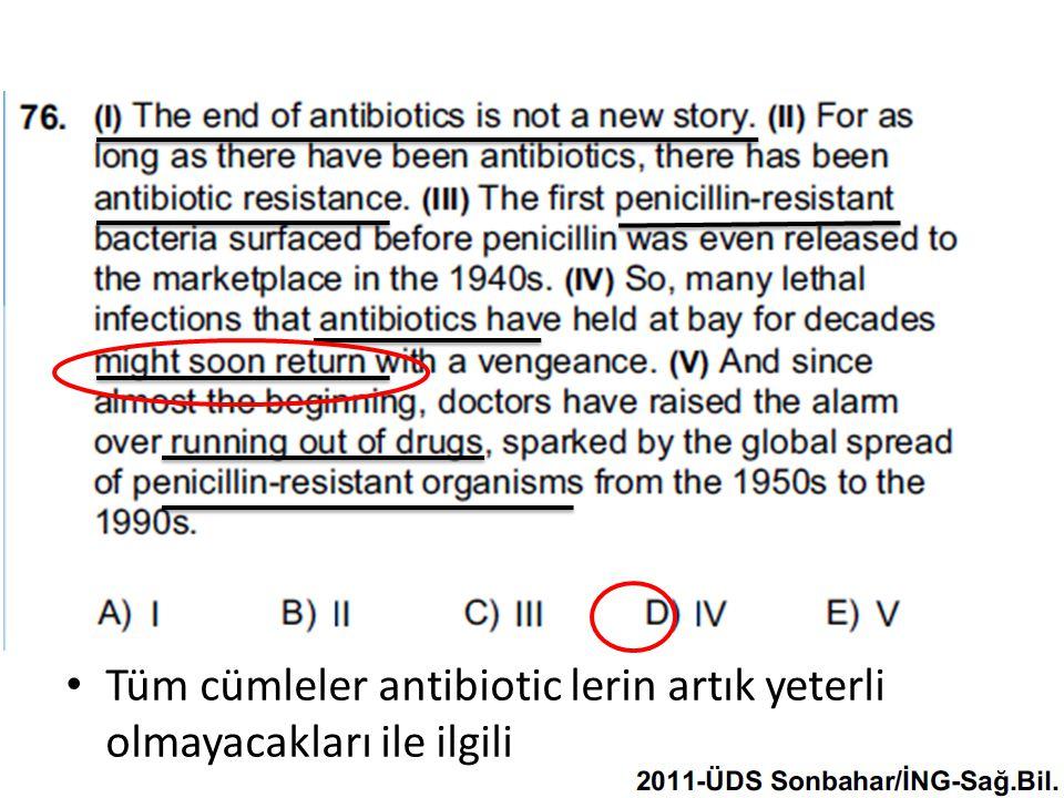 Tüm cümleler antibiotic lerin artık yeterli olmayacakları ile ilgili