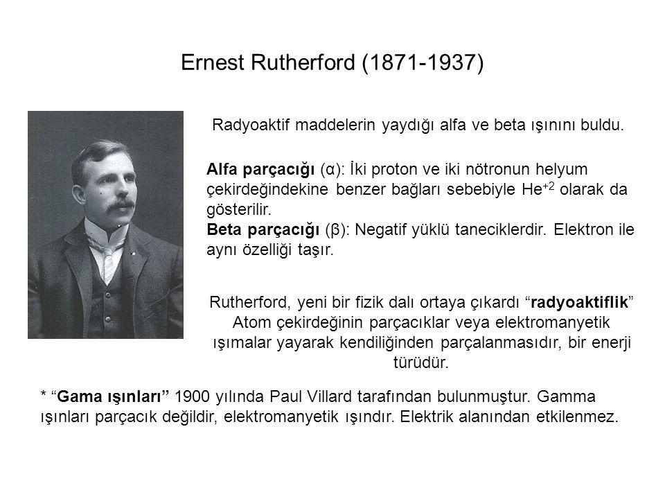 """Ernest Rutherford (1871-1937) Radyoaktif maddelerin yaydığı alfa ve beta ışınını buldu. Rutherford, yeni bir fizik dalı ortaya çıkardı """"radyoaktiflik"""""""
