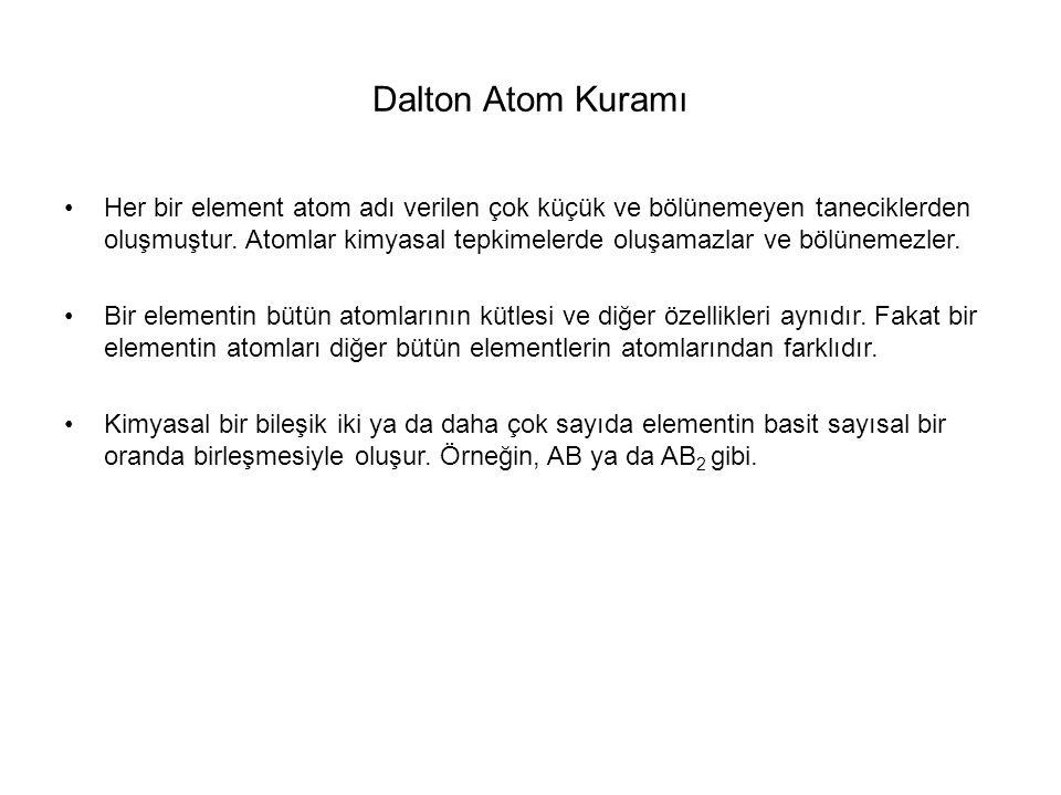 Dalton Atom Kuramı Her bir element atom adı verilen çok küçük ve bölünemeyen taneciklerden oluşmuştur. Atomlar kimyasal tepkimelerde oluşamazlar ve bö