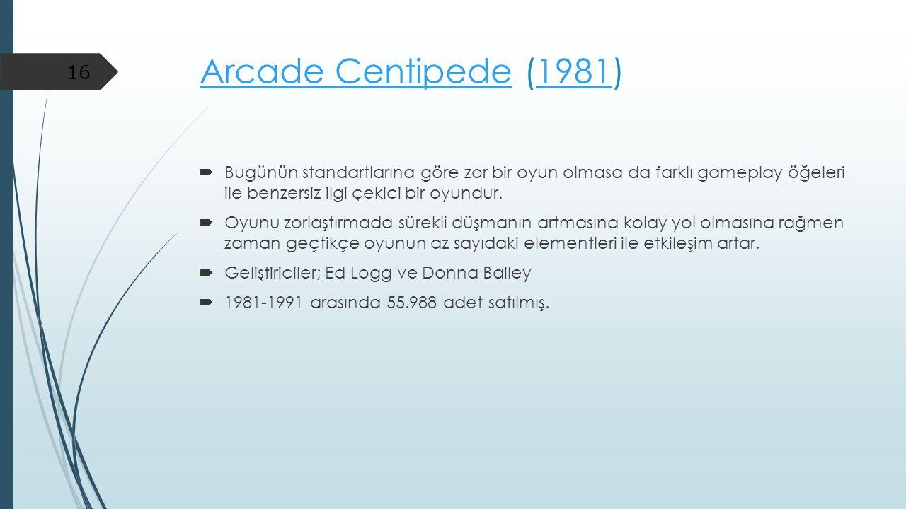 Arcade CentipedeArcade Centipede (1981)1981  Bugünün standartlarına göre zor bir oyun olmasa da farklı gameplay öğeleri ile benzersiz ilgi çekici bir